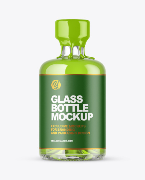 Clear Glass Bottle with Wax Mockup