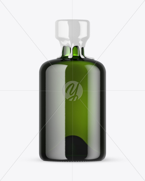 Green Glass Bottle with Wax Mockup