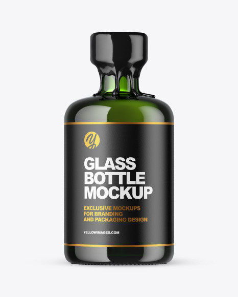 Download Green Glass Bottle with Wax PSD Mockup