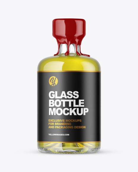 Download Clear Glass Oil Bottle with Wax PSD Mockup