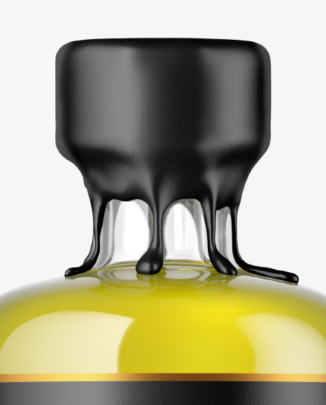 Clear Glass Oil Bottle with Wax Mockup