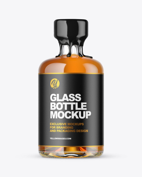 Download Clear Glass Whiskey Bottle with Wax PSD Mockup