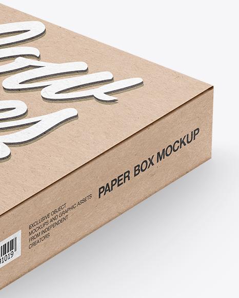Kraft Paper Box Mockup - Half Side View