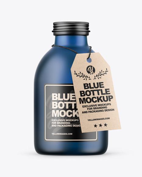 Download Frosted Blue Bottle PSD Mockup