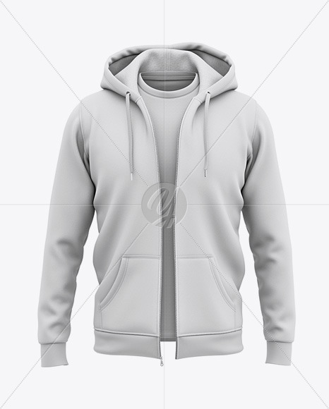 Download Full Zip Hooded Sweatshirt Front View Of Hoodie In Apparel Mockups On Yellow Images Object Mockups