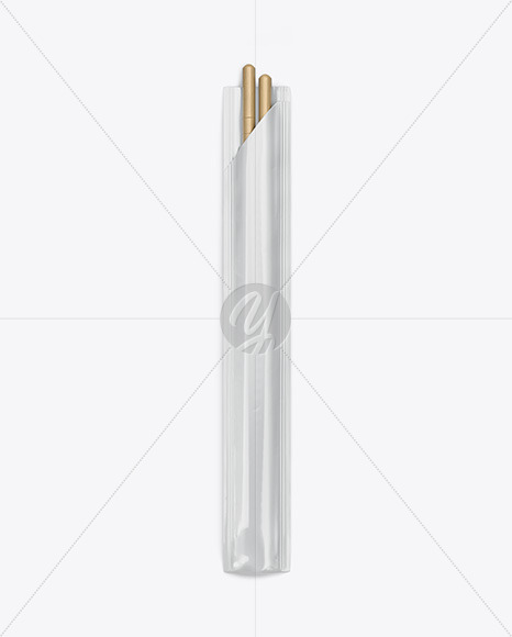 Chopsticks in Glossy Pack Mockup - Top View