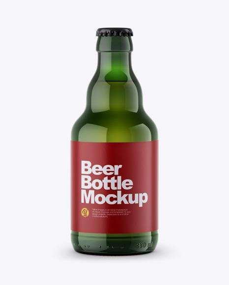 Download Green Beer Bottle PSD Mockup