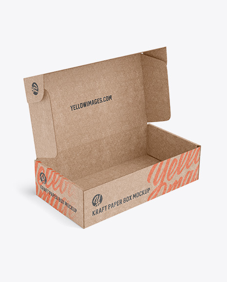 Download Opened Kraft Paper Box Mockup Half Side View In Box Mockups On Yellow Images Object Mockups PSD Mockup Templates