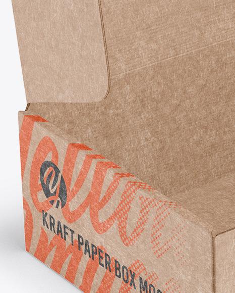 Opened Kraft Paper Box Mockup - Half Side View