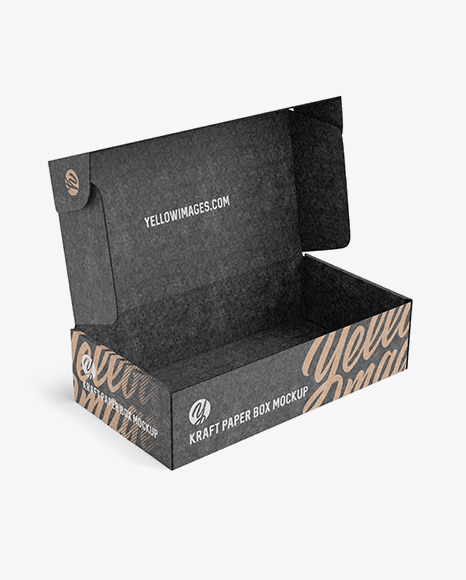 Download Opened Kraft Paper Box Mockup Half Side View In Box Mockups On Yellow Images Object Mockups Yellowimages Mockups