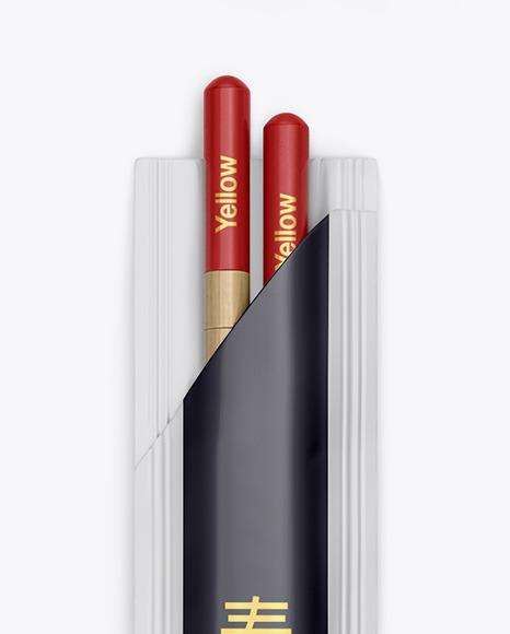 Chopsticks in Matte Pack Mockup - Top View