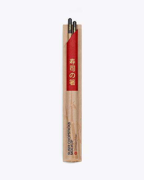 Chopsticks in Kraft Pack Mockup - Top View