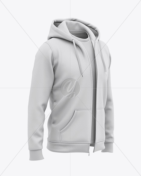 Full-Zip Hooded Sweatshirt - Front Half Side View Of Hoodie