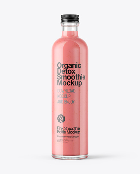 Strawberry Smoothie Bottle Mockup