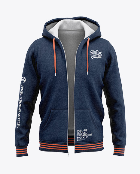 Full-Zip Heather Hooded Sweatshirt - Front View Of Hoodie