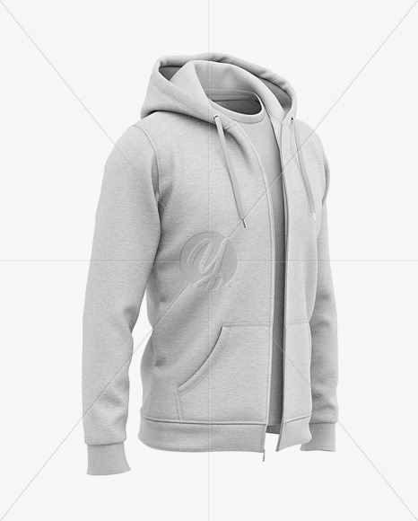 Download Mens Heather Long Sleeve Hooded T Shirt Mockup Front Half Side View Yellowimages