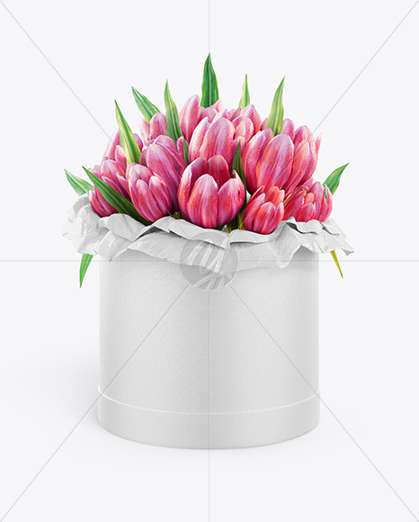 Round Flower Box Mockup