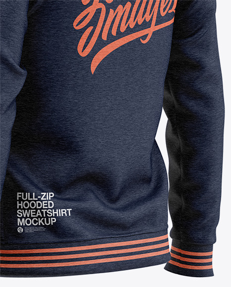 Full-Zip Heather Hooded Sweatshirt - Back Half Side View Of Hoodie