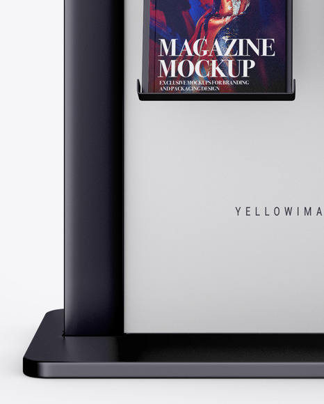 Metallic Stand with Magazines Mockup