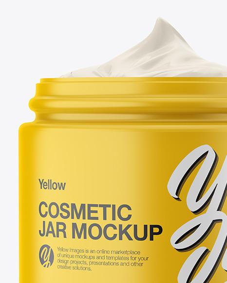 Opened Matte Plastic Cosmetic Jar Mockup