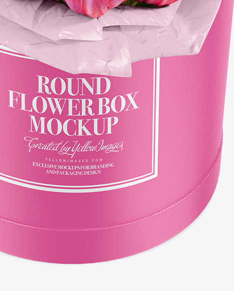 Round Flower Box Mockup - High-Angel View
