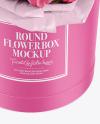 Round Flower Box Mockup - High-Angel View
