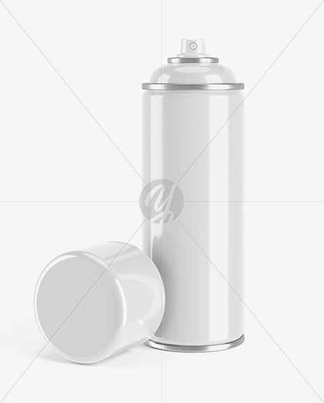 Opened Glossy Spray Bottle With Plastic Cap Mockup
