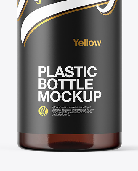Amber Plastic Bottle Mockup