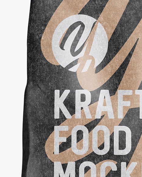 Kraft Food Bag Mockup - Front View