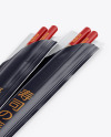 Chopsticks in Glossy Pack Mockup - Halfside View