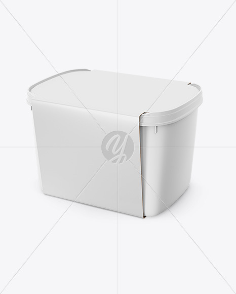 Plastic Box Mockup - Half Side View