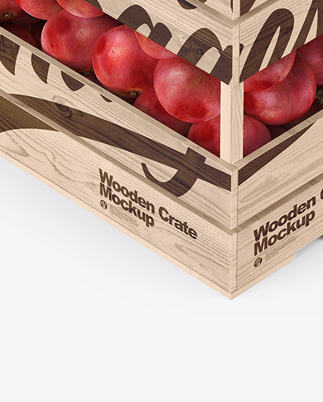Wooden Crate with Pomegranates Mockup - Half Side View