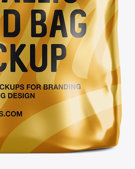 Matte Metallic Food Bag Mockup - Front View