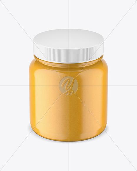 Plastic Jar w/ Honey Mockup