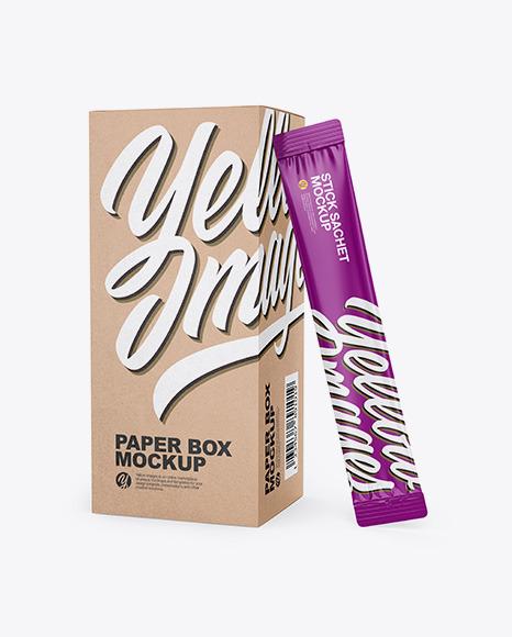 Kraft Box W/ Glossy Sachet Mockup