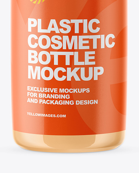 Glossy Plastic Cosmetic Bottle Mockup