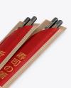 Chopsticks in Kraft Pack Mockup - Halfside View View