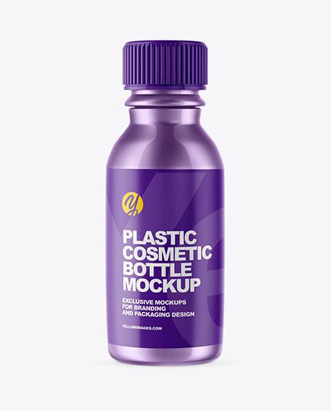 Metallic Plastic Cosmetic Bottle Mockup