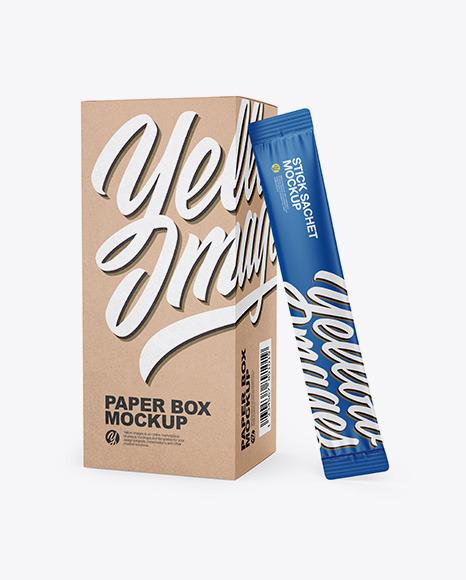 Kraft Paper Stick Sachet Mockup