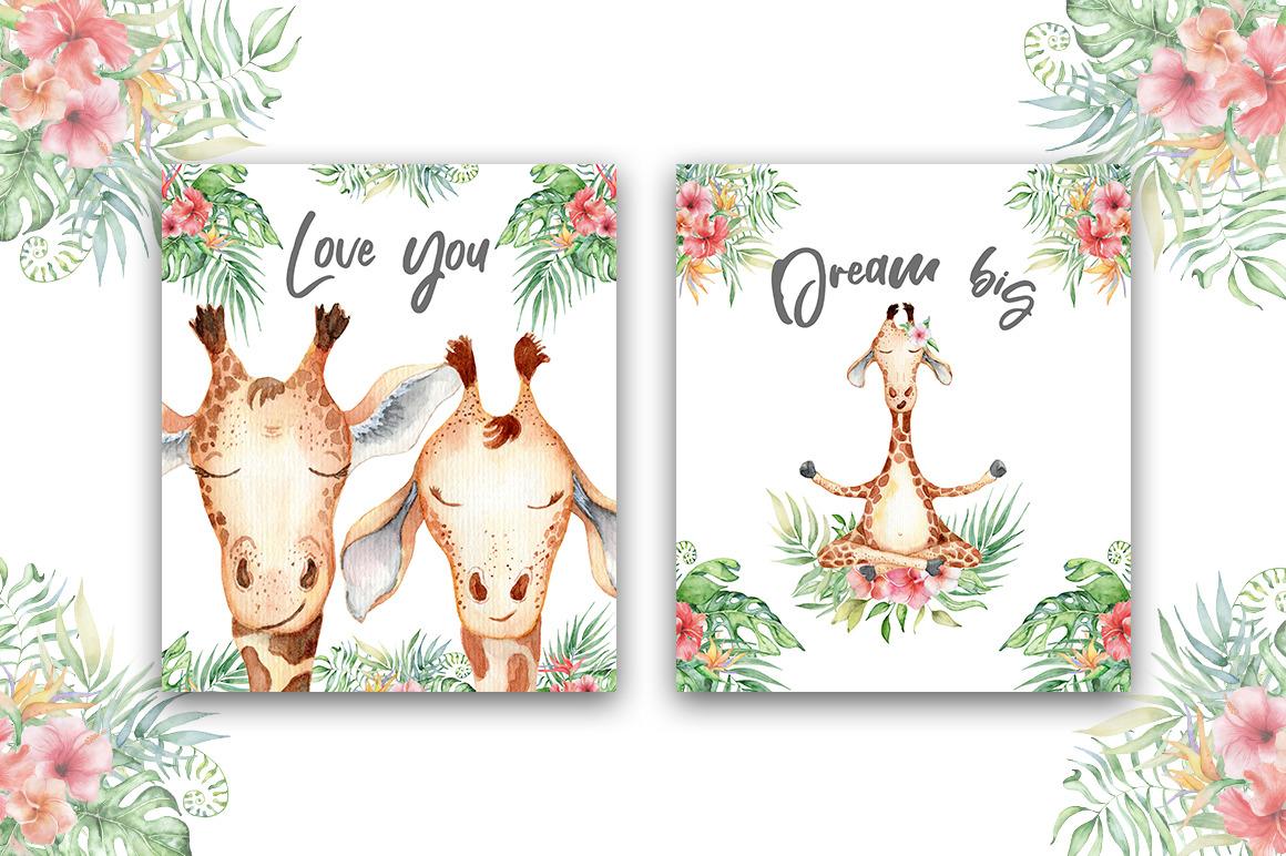 Lovely Giraffes watercolor set