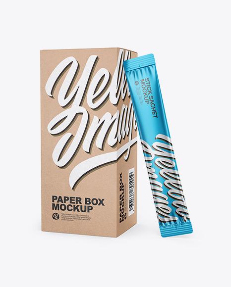 Kraft Box W/ Glossy Metallic Sachet Mockup