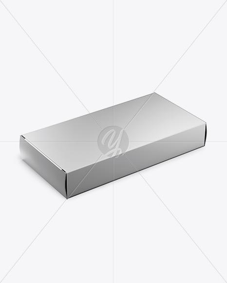 Glossy Metallic Pills Box Mockup - Halfside View (High Angle Shot)