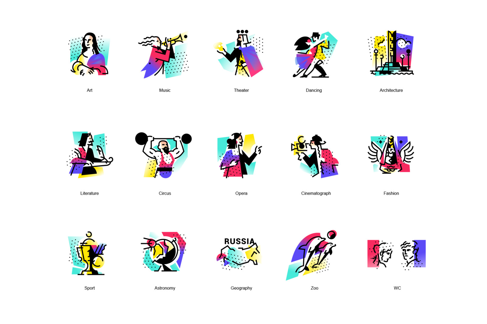 13 icons of art. Vector!