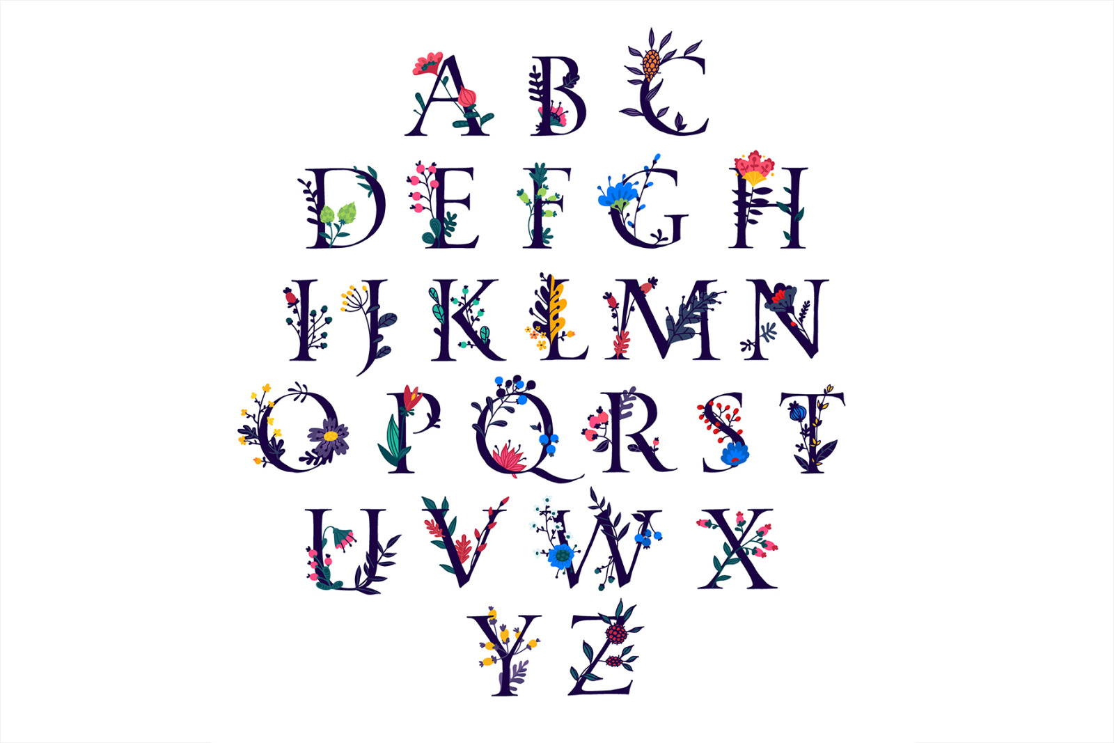English alphabet with flowers and plants. Two fonts.