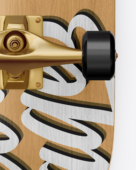 Wooden Skateboard Mockup - Back View