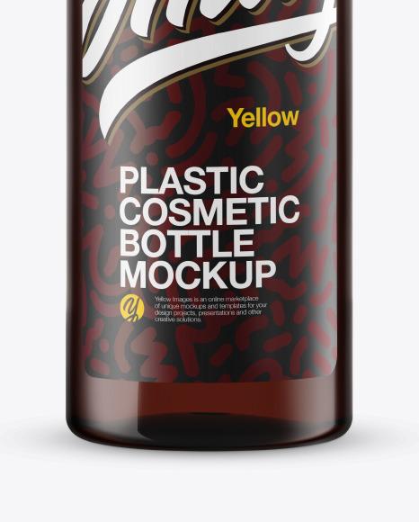 Amber Plastic Cosmetic Bottle Mockup