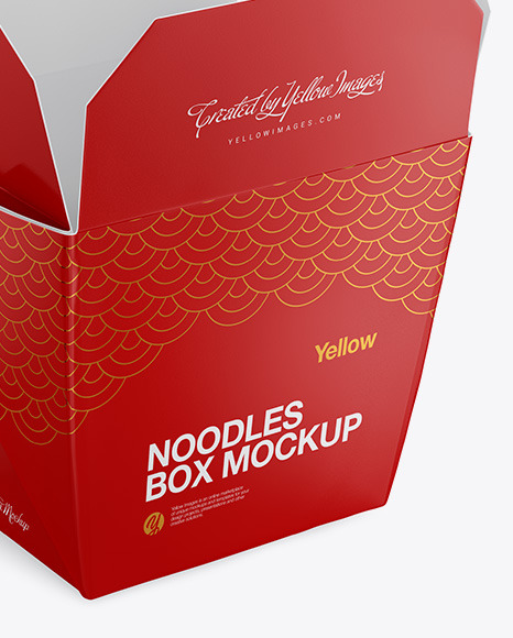 Opened Glossy Noodles Box Mockup - Half-Side View