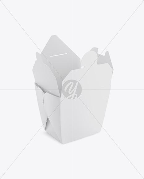 Opened Matte Noodles Box Mockup - Half-Side View