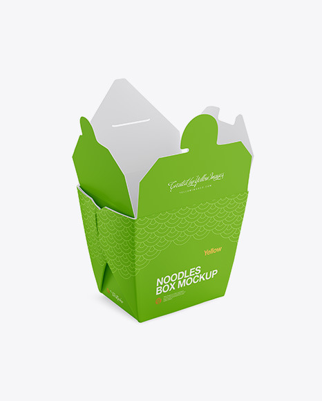 Download Opened Matte Noodles Box Mockup Half Side View In Box Mockups On Yellow Images Object Mockups PSD Mockup Templates