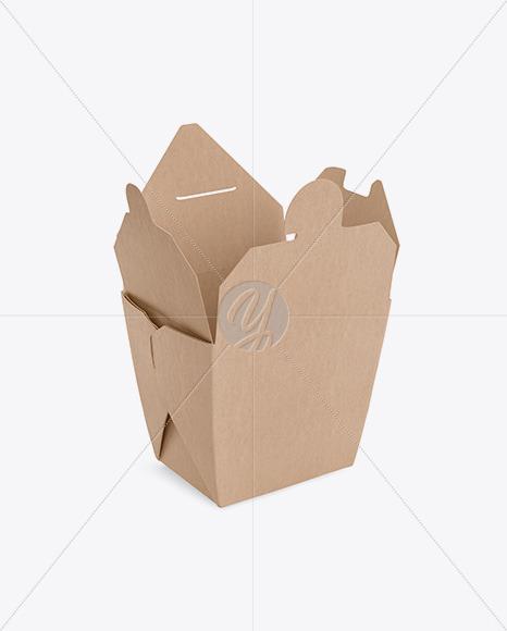 Opened Kraft Noodles Box Mockup - Half-Side View